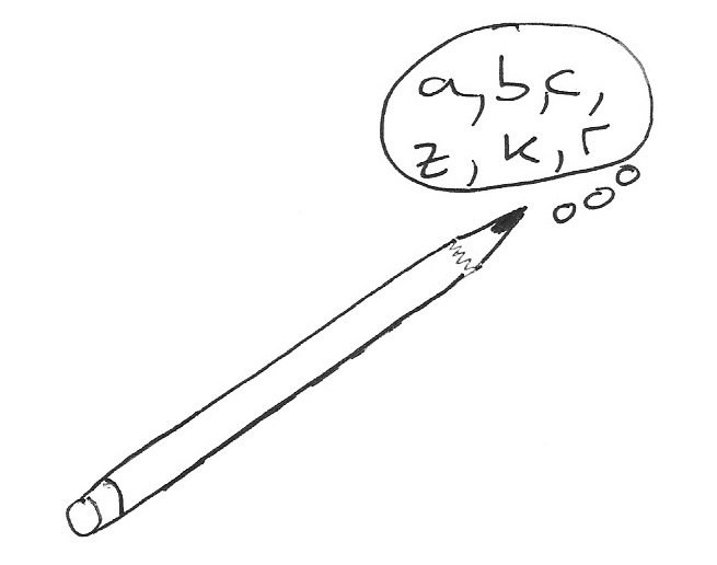 Drawing of pencil writing letters